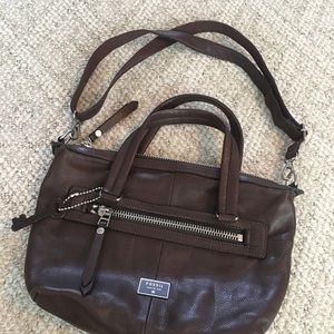 GUC Fossil Brown Cow Hide Leather Purse